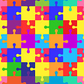 Seamless colorful pattern with puzzles, jigsaw, children's pattern