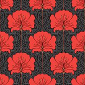Seamless pattern with red flowers on gray background. Art nouveau style.