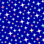 Seamless pattern with sparkles. Shining dark blue background with tiny stars. Cartoon style.