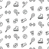 Seamless pattern with sport equipment, isolated on white. Vector illustration