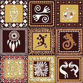 Seamless pattern with squares pattern with imitation of elements of rock art of ancient Indians, Aztecs, cavemen