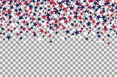 Seamless pattern with stars for Memorial Day celebration on transparent background. Vector Illustration.