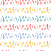 Seamless pattern with textured zigzag waves. Abstract background. Pencil texture.