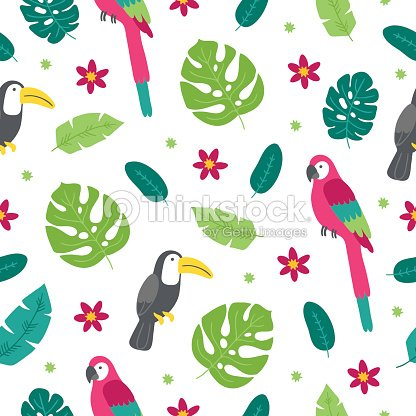 Seamless pattern with toucan, palm leaves, tropical flowers and macaw