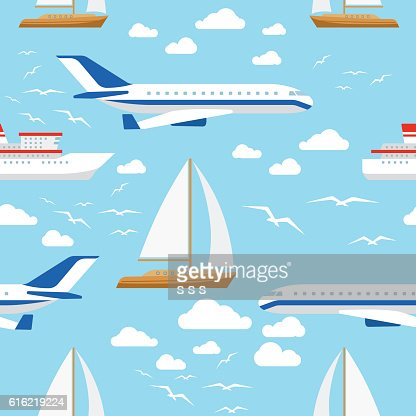 Seamless pattern with transport and clouds : Vector Art