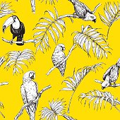 Hand drawn seamless pattern with tropical birds and palm fronds on yellow background. Black and white images of parrots and toucan sitting on branches.