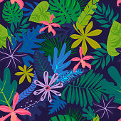 Seamless pattern with tropical leaves and flowers. Editable vector illustration