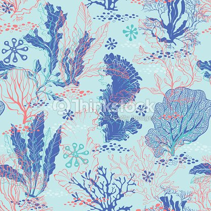 Seamless Pattern With Underwater Plants Bright Sea Vector