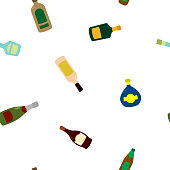 Seamless pattern with vector alcohol bottles for your design
