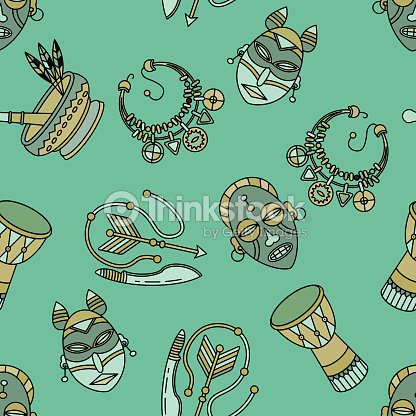 Seamless Pattern With Voodoo Symbols stock vector | Thinkstock