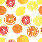 Seamless pattern with vector watercolor citrus: lemon, orange, grapefruit