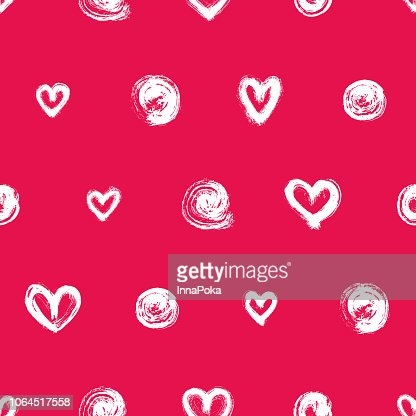 Seamless Pattern With White Hand Drawn Hearts And Round Brush Strokes Isolated On Red Background Ink Doodle Style Abstract Wallpaper