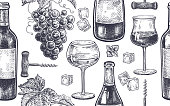 Seamless vector pattern of wine drinking. Bottles, berries of grapes, glasses with white and red wine, ice, mint, corkscrew. Black and white. Vector illustration art. Vintage engraving. Hand drawing.