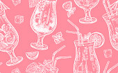 Seamless vector pattern of wine drinking. Bottles, grapes, glasses with white and red wine, ice, mint, corkscrew on a pink background. Vector illustration art. Vintage engraving. Hand drawing.