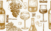 Seamless vector pattern of wine drinking. Bottles, berries of grapes, glasses with white and red wine, ice, mint, corkscrew. Gold and white. Vector illustration art. Vintage engraving. Hand drawing.