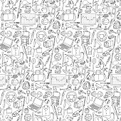 Seamless pattern with of mans hobby,  tools and objects