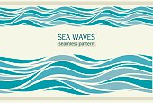 Seamless patterns with stylized waves vintage style