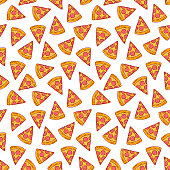 cute seamless background of delicious pizza slices. hand-drawn illustration