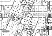 Seamless plan of building blueprint. Top view of vector architectural background