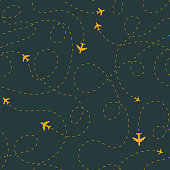 Seamless plane track patten. Airplane routes tracery