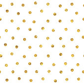 Seamless random polka dot golden pattern. Dots of small mosaic faceted triangles.