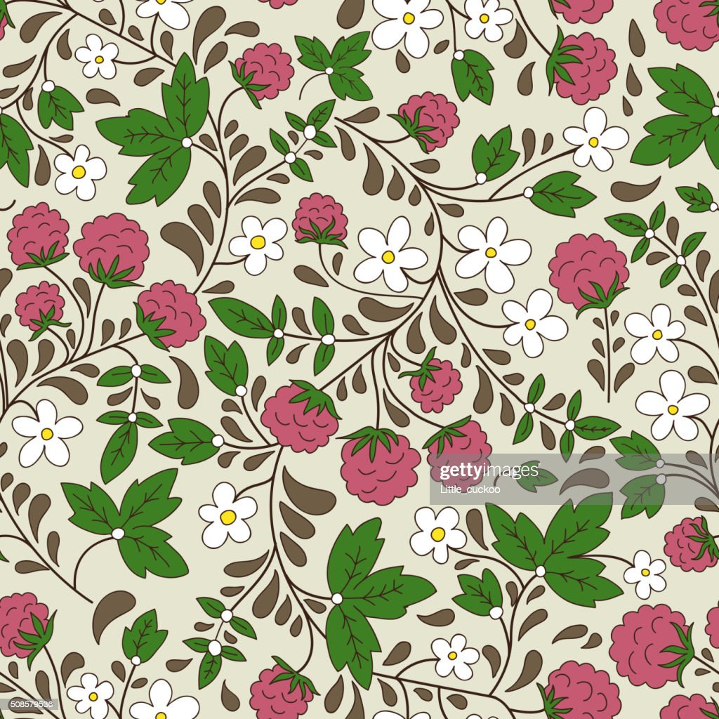 Seamless raspberry pattern. Vector illustration. : Vector Art