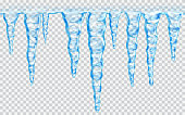 Hanging translucent seamless repeatable icicles in blue colors on transparent background. Transparency only in vector file. Vector illustrations. EPS10 and JPG are available