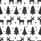 Seamless retro Christmas pattern - varied Xmas trees, reindeer, stars and snowflakes. Black and white Happy New Year background. Vector design for winter holidays.