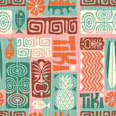 Seamless retro exotic tiki pattern. Vector illustration.