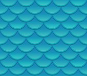 Seamless blue fish scale texture. Realistic scale pattern vector illustration.