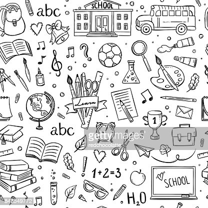 Seamless school pattern. Background with hand drawn school and education illustrations and symbols : Vector Art