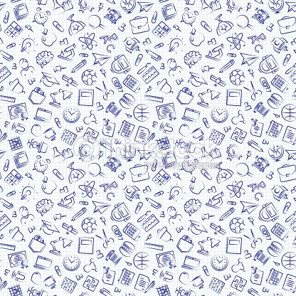 Seamless school pattern with hand drawn thin line icons school supplies on checkered background. Education pattern. Vector Illustration : arte vetorial