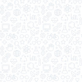 Hand drawn doodle style science pattern. Seamless texture of science symbols, equipment and icons. Subtle white background, vector illustration.
