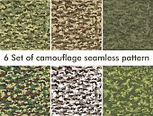 Seamless set of camouflage military pattern. Cloth for infantry. Abstract background. Vector illustration,