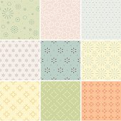 A set of textile / wallpaper seamless patterns. Two colour used only. Zip contains AI, EPS and large JPG.