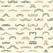 Seamless set with mustache of men. Mustache fashion drawing hipster, pattern seamless gentleman style. Vector illustration