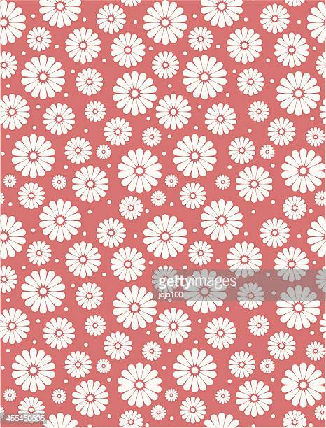 Seamless Simple Coral Red Daisy Polka Repeat Pattern