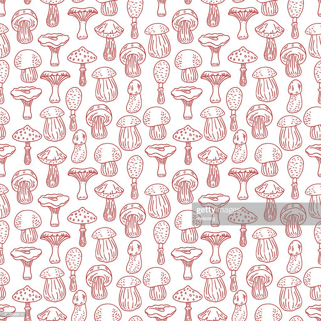 seamless sketch background of mushrooms