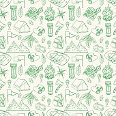 Seamless green background of sketch camping equipments. Hand-drawing illustration