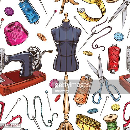 Seamless Sketch Tailoring Equipment Vector Art Thinkstock
