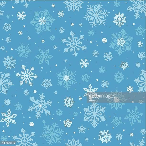 Nahtlose Schneeflocken Hintergrund gezeichnet