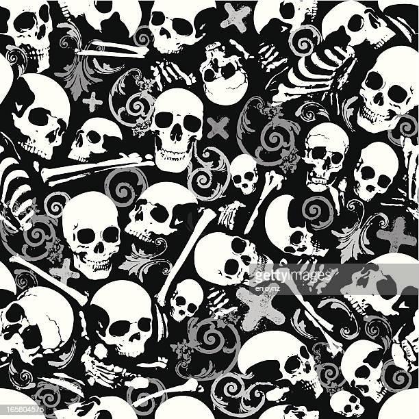 Y los huesos del cráneo sin costuras fondo de papel tapiz