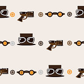 Seamless square pattern with steampunk accessories like old fashioned revolver, hat with aviator glasses and goggles on beige background.