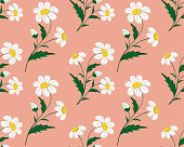 Seamless stitch embroidered camomile field pattern on a coral background. Vector illustration