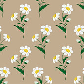 Seamless stitch embroidered pattern with chamomile flowers on beige background. Vector