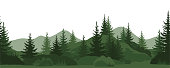 Seamless Horizontal Landscape, Summer Mountain Forest with Fir Trees, Bushes and Grass Green Silhouettes on White Background. Vector