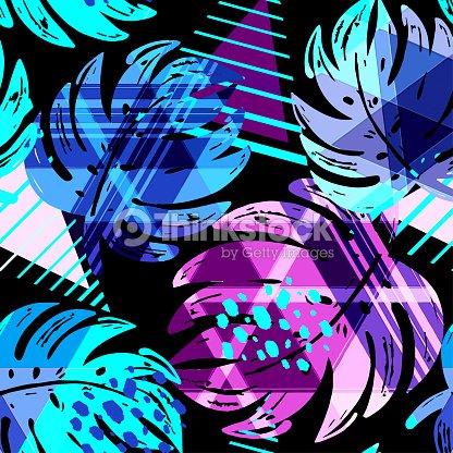 seamless summer tropical leaves pattern vector art thinkstock