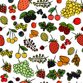 seamless texture with the image of children's drawings of berries drawn quickly by hand, sketch vector graphics color picture