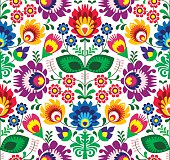 Repetitive colorful background - Slavic cutout style folk art pattern