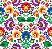 Repetitive colorful background - Slavic cutout style folk art pattern